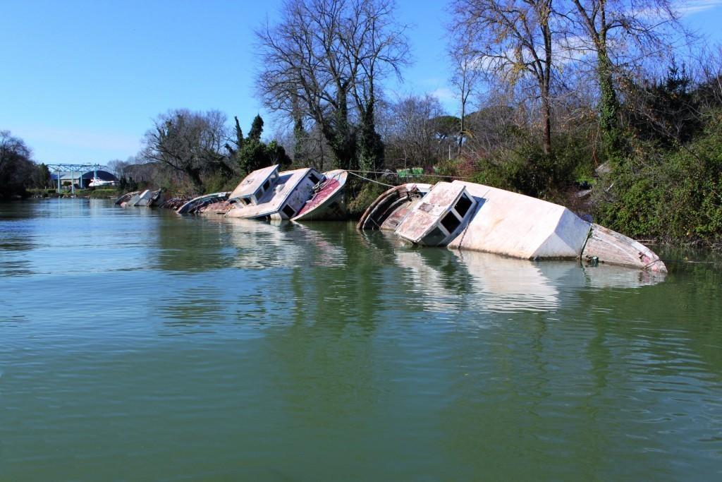 Foto di imbarcazioni abbandonate sul Tevere