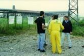 Alex Langer durante una manifestazione contro l'elettrosmog, Piacenza, primavera 1994