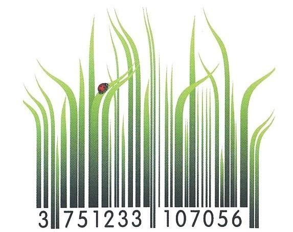 immagine di un codice a barre fatto di fili d'erba