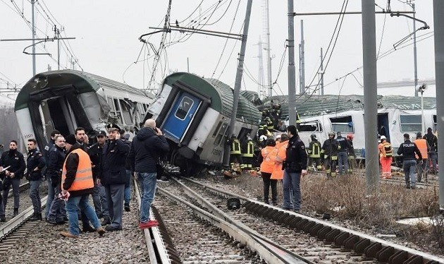 Un'immagine dell'incidente ferroviario