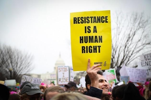 immagine di una protesta per i diritti umani
