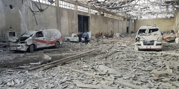 immagine di distruzione nella Ghouta Orientale, in Siria
