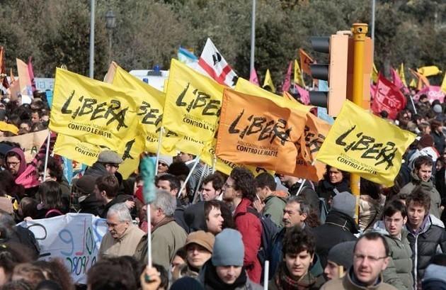 immagine di una manifestazione di Libera