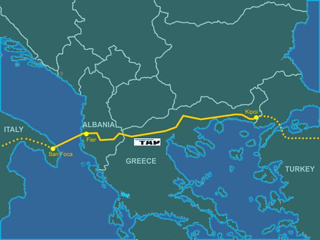 """mappa su cui è tracciato il """"percorso"""" del Trans Adriatic Pipeline"""