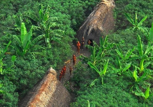Immagine dall'alto di una tribù incontattata in Amazzonia