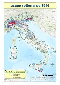 Mappa dei rilevamenti di pesticidi nelle acque sotterranee (Fonte Ispra)