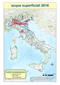 Mappa dei rilevamenti di pesticidi nelle acque superficiali (Fonte Ispra)