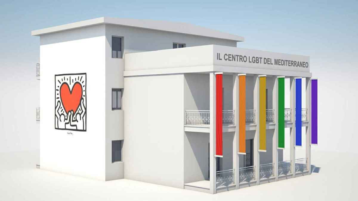 rendering del Centro lgbt mediterraneo a Castel Volturno