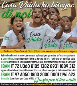 cartolina per donazioni a Casa Vhida