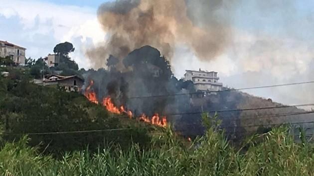 un'immagine dell'incendio che ha colpito il Salento