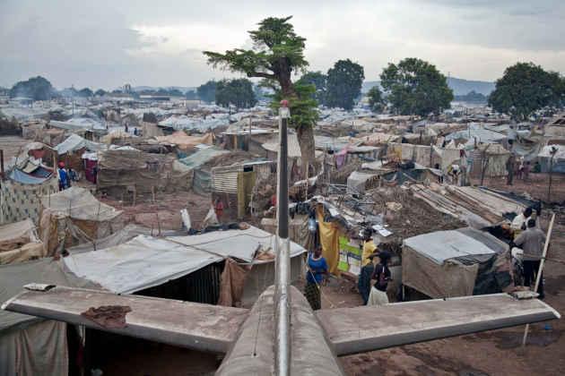 Una baraccopoli in Repubblica Centrafricana