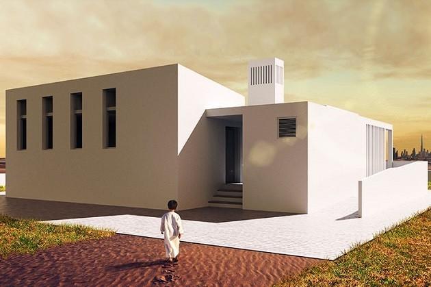 Un'immagine di un progetto di una casa alimentata da sola energia solare