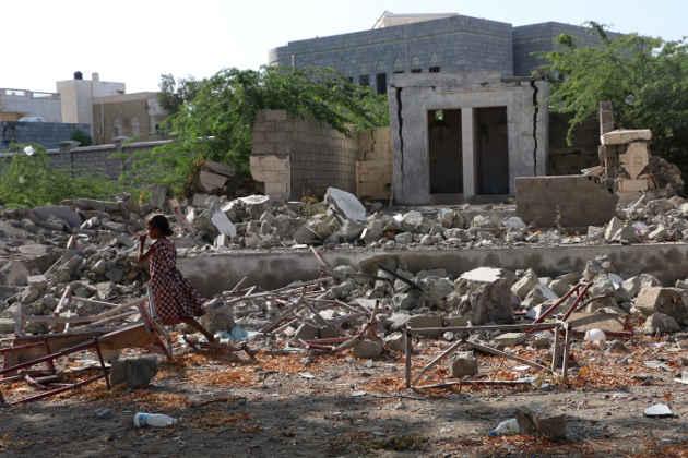 Immagine di bombardamenti a Hodeidah in Yemen