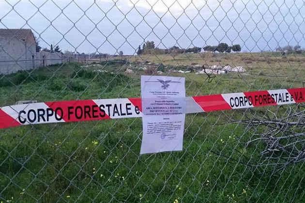Un'area sequestrata per via di un incendio di rifiuti in Sardegna