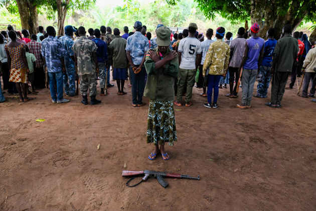 L'immagine di combattenti in Sud Sudan