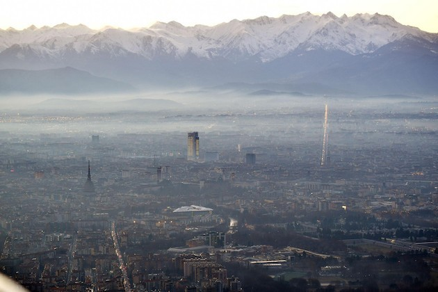 Un'immagine dall'alto di Torino
