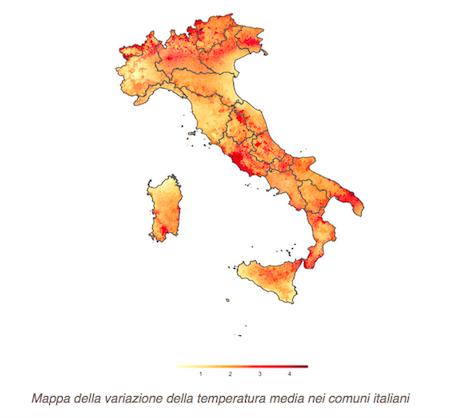 Mappa aumento T comuni Italia