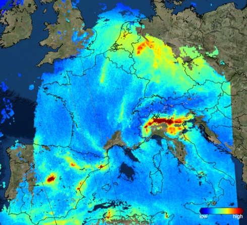 Diffusione del biossido di azoto sul nord Europa, immagini satellite Esa
