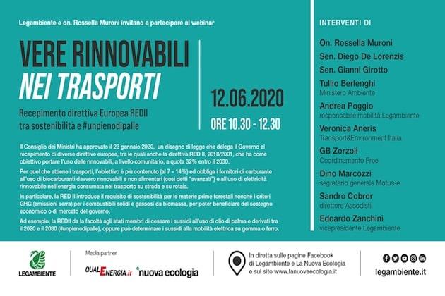 Vere rinnovabili nei trasporti, il 12 giugno il webinar sul recepimento della direttiva Ue REDII