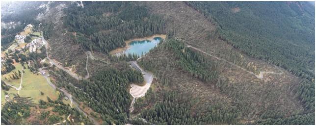 Un'immagine dei danni provocati dalla tempesta Vaia