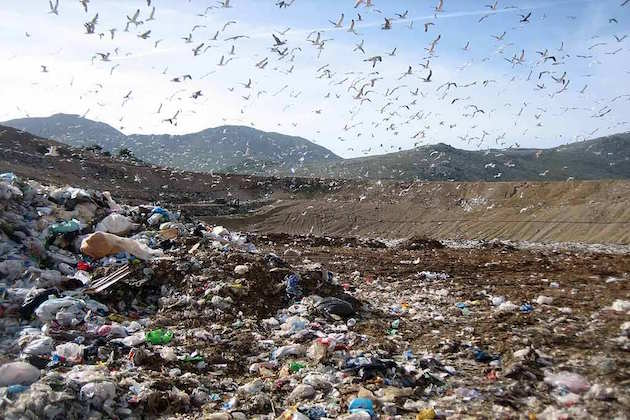 L'immagine di una discarica nell'area di Roma