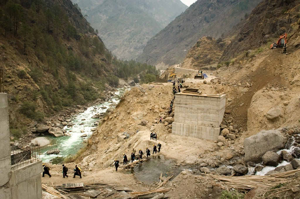 Tamang people Moving From Tibet To A Wedding In Timure Village Crossing A Building Site Of The New Highway