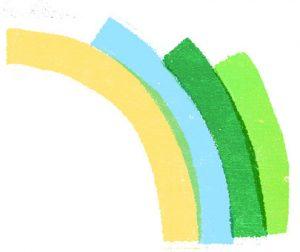 Arcobaleno per economia circolare illustrazione di Irene Rinaldi per La Nuova Ecologia