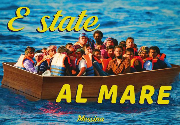 immagine di una cartolina che raffigura un barcone di migranti