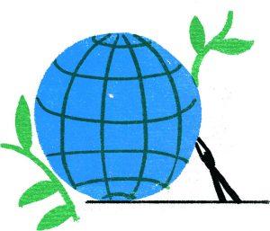 mondo economia circolare, illustrazione di Irene Rinaldi per La Nuova Ecologia