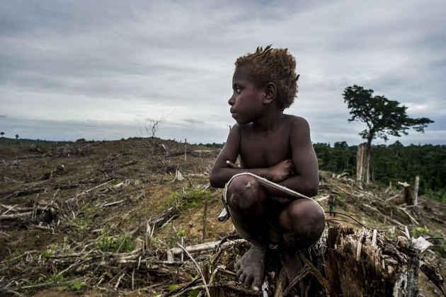 Un bambino in una foresta in West Papua